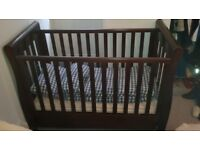 Beautiful dark wood sleigh cot