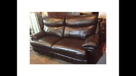 Brown Leather Electric Recliner Sofa