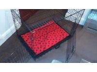 Dog cage crate with waterproof/washable pet bed foldable with carry handle pet bed