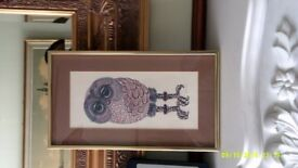 Picture of Owl Mounted on a Brass Frame