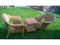 2 wicker chairs n smal table