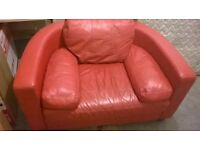 SOFA 3+1 RED LEATHER