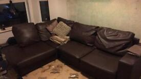 Brown corner leather sofa