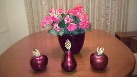4 Attractive Ornaments In Seasonal Colour -2 Apples:Pear & Vase With Imitation Flowers As Pictured.
