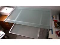 John Lewis Frosted Glass Office Desk with computer tray