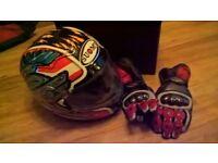 Motorbike helmet & gloves & 2 coats