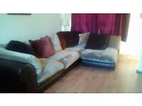 Brown Fabric right or left angled corner Sofa. Smoke and pet free home