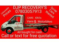DJP 24HR RECOVERY'S SCRAP CARS ALSO BOUGHT FOR CASH