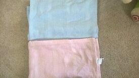 Pink and Blue Cellular Blankets - Moses Basket
