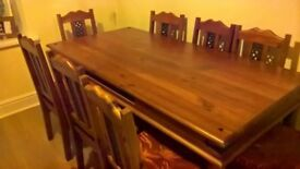 Sheesham indian rosewood dining table with 8 chairs