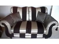 Immaculate Black and Champagne 2 Seater Sofa Nearly New
