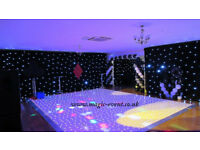 LED Dance Floor Hire, Bacdkrops, Wall Draping, LED Uplighting, Mood Lighting, MR&MRs sign