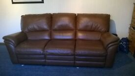Brown leather recliner ,one small mark on middle seat but all in good condition