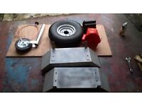 CAR TRAILER PARTS NEW jockey wheel /8in wheel tyre /m/gards /bull dog anti theft/12 tyres