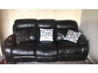 Black leather three seater recliner sofa