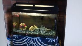 Fish Tank 65 litres. Good condition and working order. Heater for tropical fish/coldwater fish.