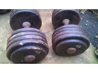 professional solid dumbbells 2 x 45 kg