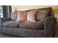 Grey chenille fabric sofa, armchair and footstool. Excellent condition, 6 months old.