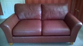 Leather' Westbury' two seater sofa in cherry, from Marks & Spencers-as new condition