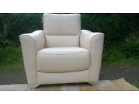 Ex-display Designer Cream Leather Arm Chair.