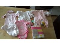 Bundle of baby girl clothes, Baby Box, Baby Bath Chair - Excellent condition