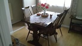 ERCOL EXTENDABLE DINING TABLE AND CHAIRS