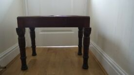 Victorian Mahogany baby bath stand with turned legs, with glass insert to use as unusual table