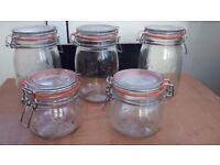 Set of 5 Kilner jars 3 large and 2 small