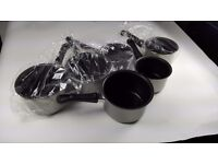 """Set of 6 *BRAND NEW* Non-Stick 5"""" & 7"""" Saucepans - Warehouse Clearout"""