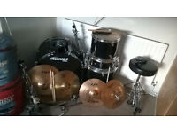mapex tornado drum kit complete with zildjian cymbals and crash hats, seat, cowbells the lot