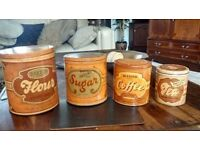 1940 / 50sVintage Tin Kitchen Canisters set, flour,tea,sugar,coffee in very good condition