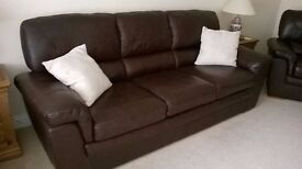Dark Brown Real Leather 3 Piece Suite plus large foot stool all in perfect condition.
