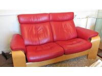 Stressless 2 Seater Red Leather Recining Sofa by Ekornes