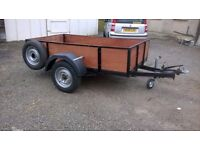 CAR TRAILER 7 FT X 4 FT fully reconditiond ALL NEW FOLD DOWN BACK DOOR 1500KG braked
