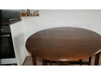 Foldable Wooden Dining Table For Sale Including 4 Metal Chairs Prortsmouth