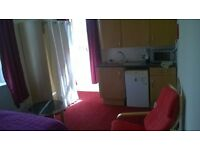 a spacious bedsit at a quiet location