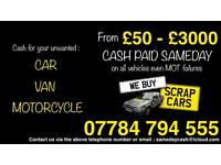 Cash for your scrap or unwanted cars, vans and motorcycles.