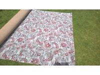 """Carpet Grey/Blue with pink flowers 14' 8"""" x 6'7"""" approx. Never Used. Hessian Backed."""