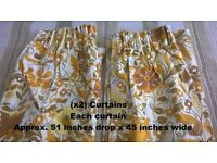 "Curtains Rust / Yellow / Beige .. Drop 51"" x 45"" wide"