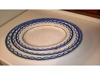 Antique blue and white serving platters