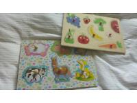 Two wooden puzzles for baby/toddler