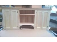 Solid pine kitchen wall cabinet with plate rack Can be painted any colour