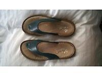 rieker toe post sandal blue