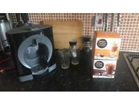 Dolce Gusto Coffee Machine w/ Glasses and pods.