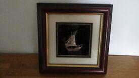 Vintage Figures In Frame Solid Sterling Silver Ship marked 925