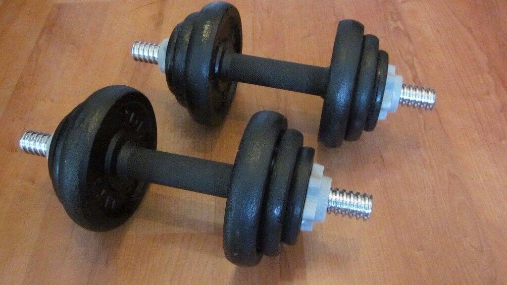 York Fitness Cast Iron Dumbbell Spinlock Set (Set of 2) - Black, 20 Kg