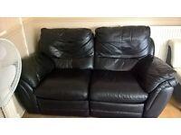 black x2 leather reclining sofas