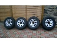 Four alloy wheels and tyres for sale 255/65r16