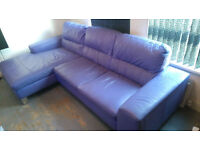 DFS Lilac Leather Right Hand Corner Sofa