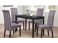 Carmen Dining Table with Striped Chairs